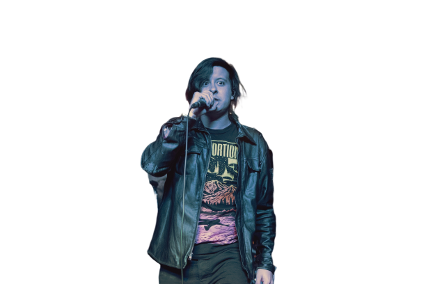 Singer singing and doing concert with mic in hand Transparent Background PNG