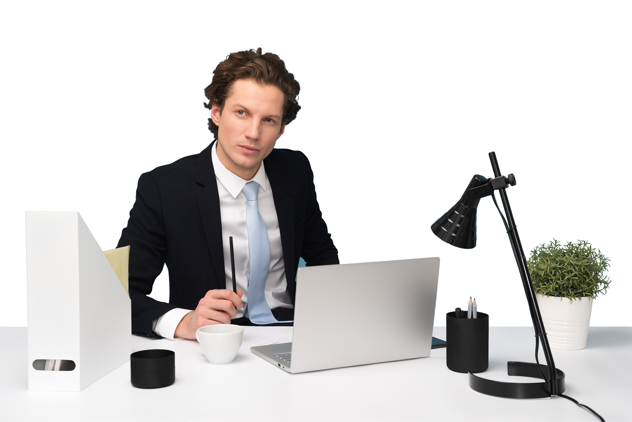 Man working in office transparent background PNG
