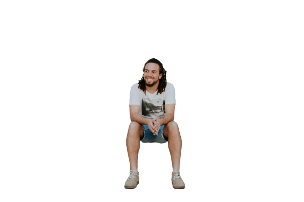 Men with long hairs sitting in shorts Transparent Background PNG