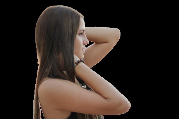 Girl image in side-pose Transparent Background PNG
