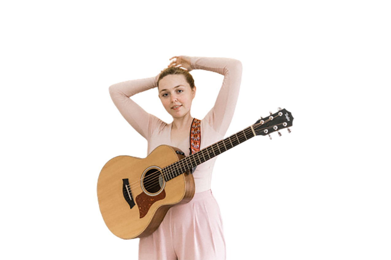 Pretty girl with a guitar transparent background PNG