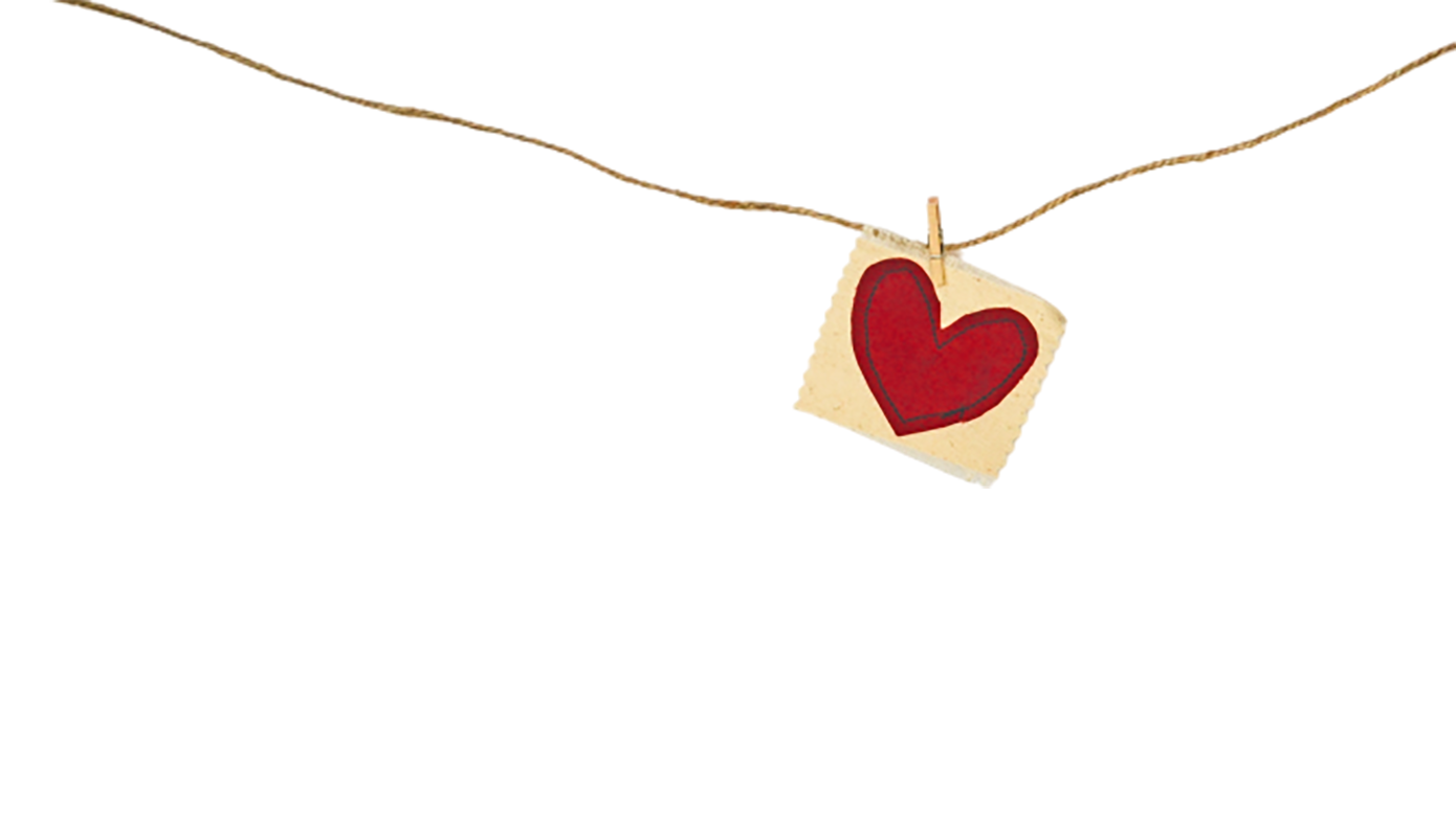 Love shape in a cloth in a rope transparent background PNG