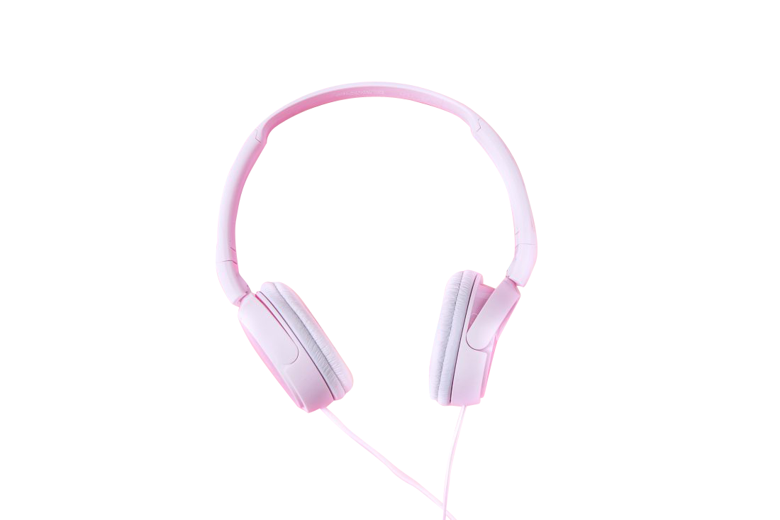 Pink head phones Transparent Background PNG