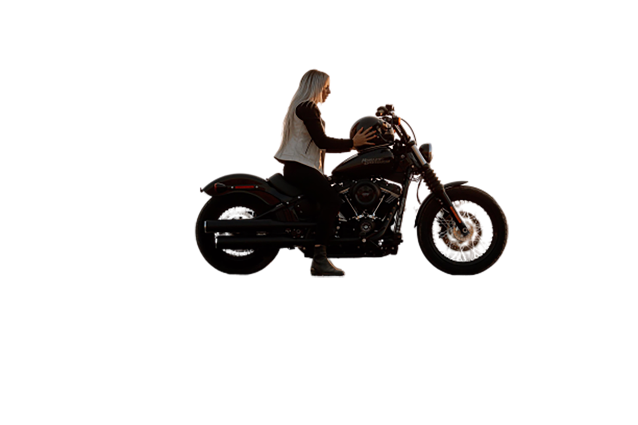 Woman on Harley-Davidson motorcycle transparent background PNG