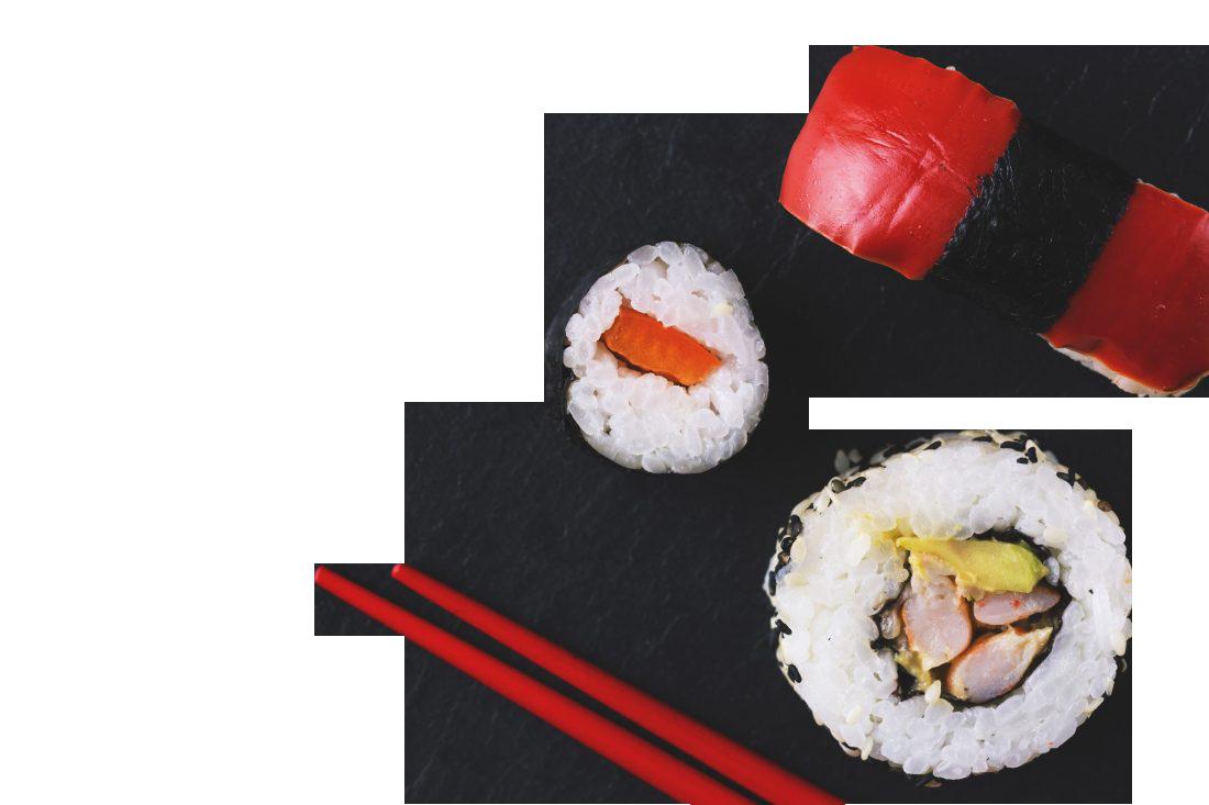 Sushi with chopsticks Transparent Background PNG
