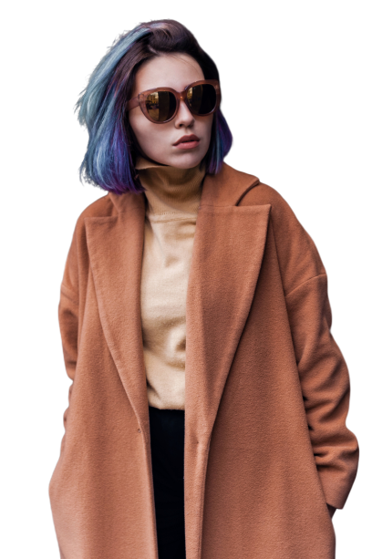 Girl model wearing brown coat with blue hairs Transparent Background PNG