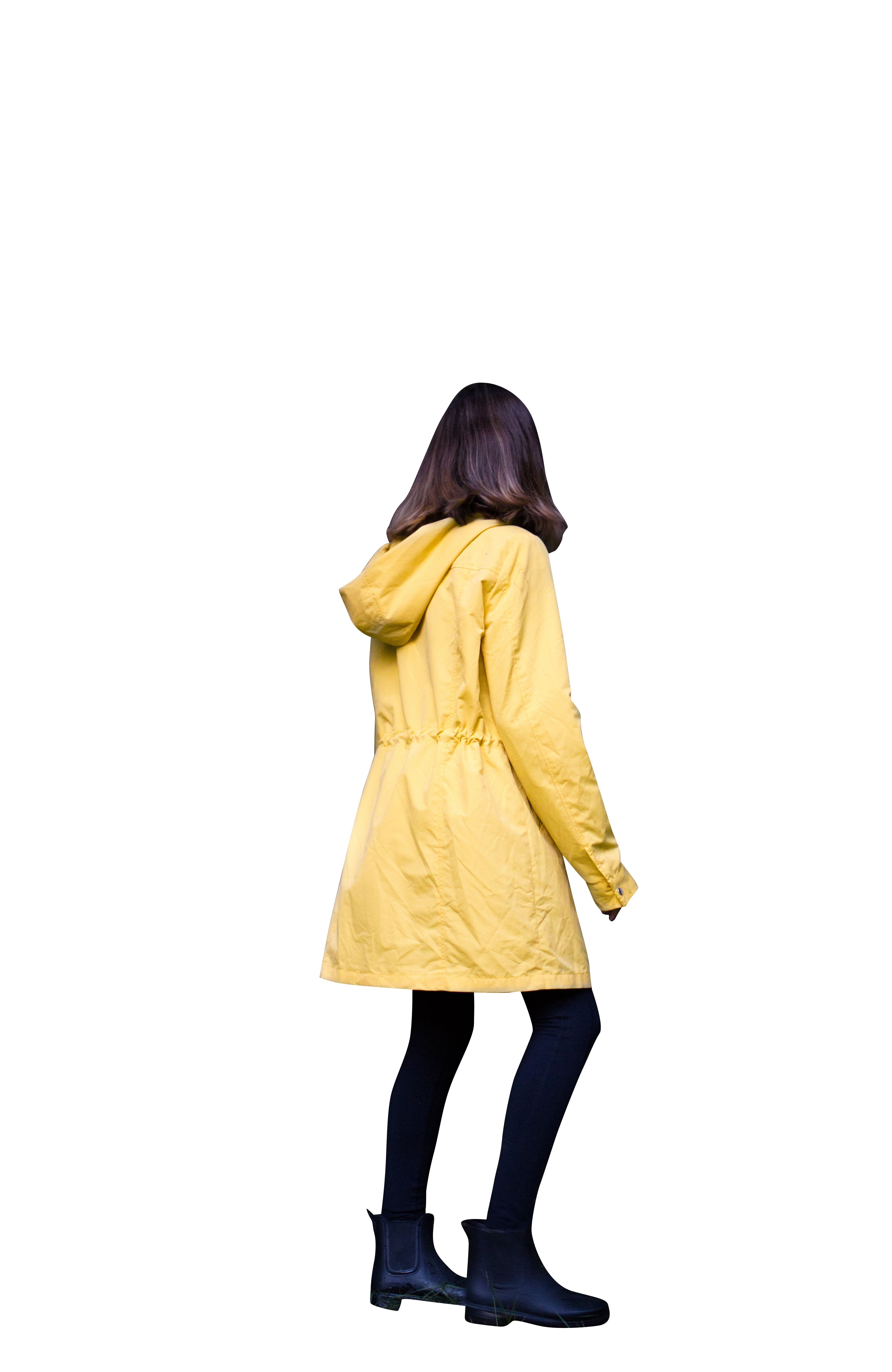 Woman with yellow hood jacket Transparent Background PNG