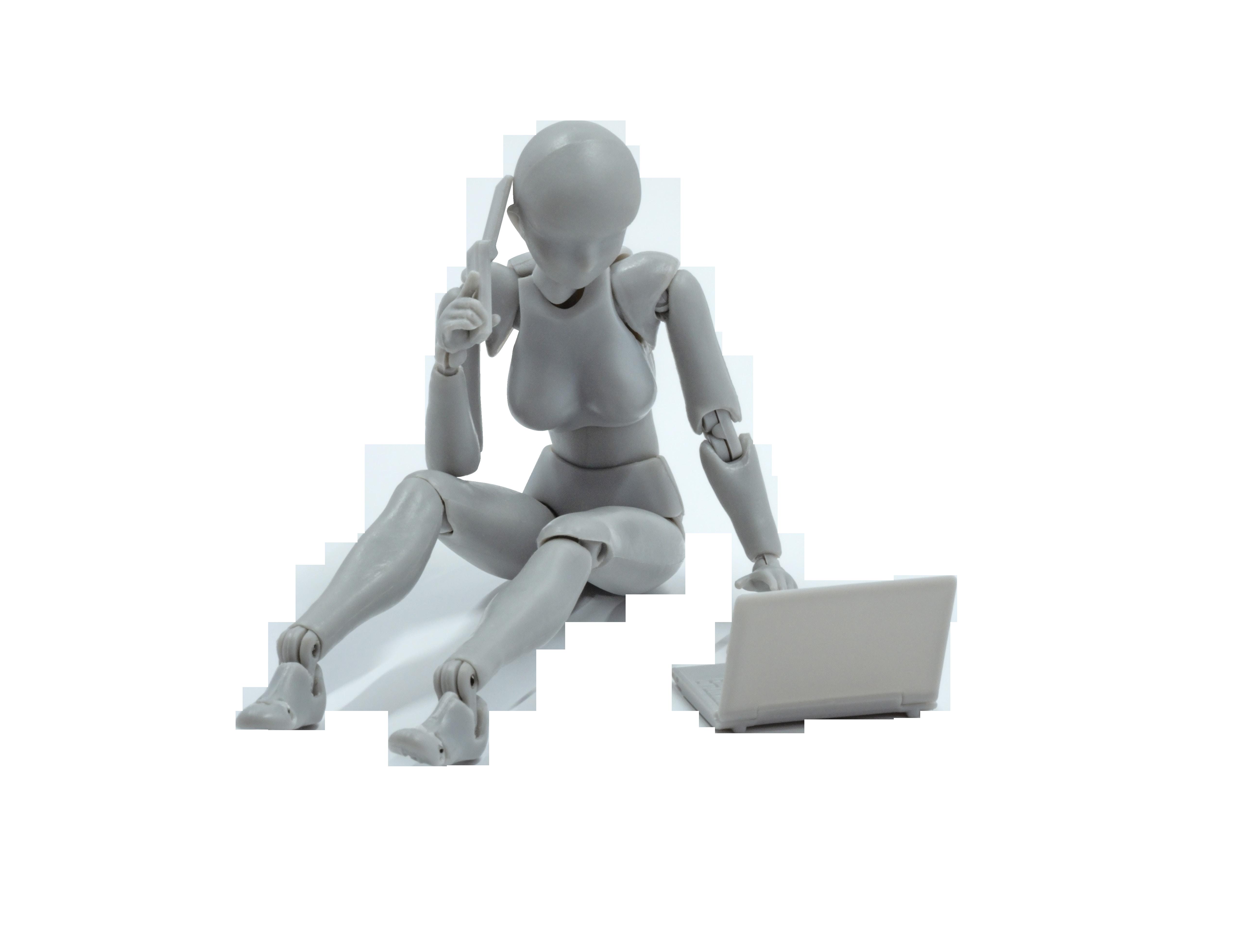 Female Mannequin Laptop Phone Transparent Background PNG