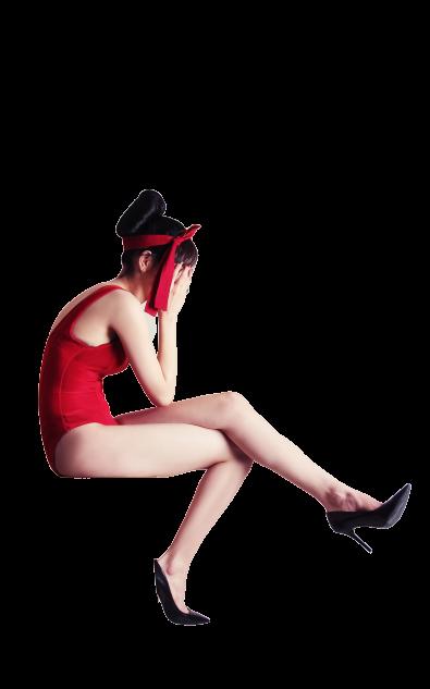 girl wearing red short dress transparent background PNG