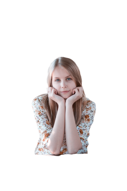 beautiful girl sitting transparent background PNG
