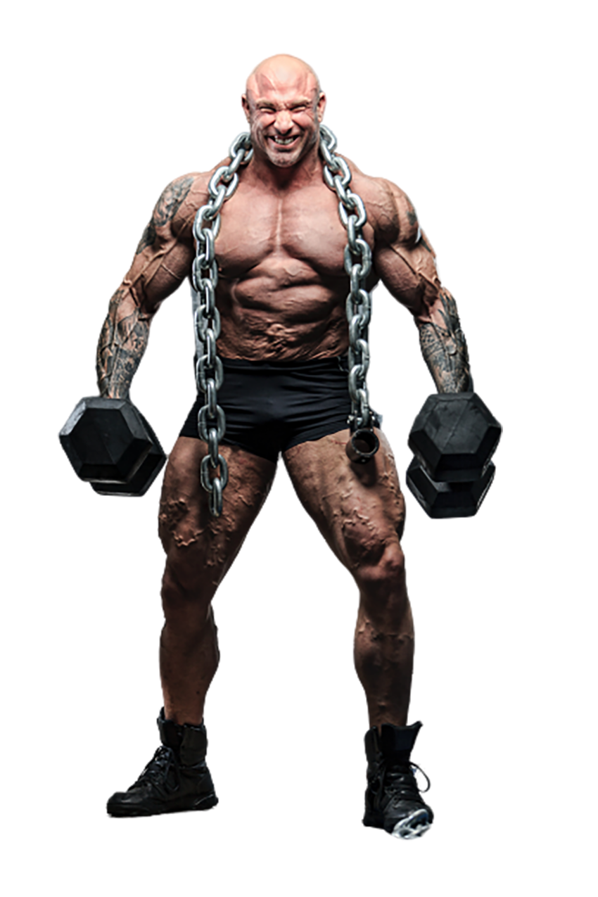 A bodybuilder with two dumbbells transparent background PNG