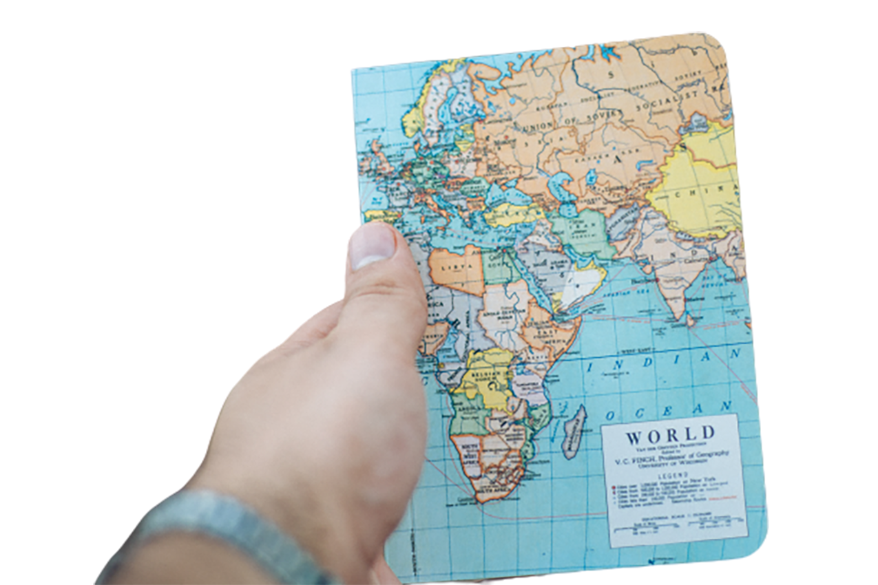 World map in hand transparent background PNG