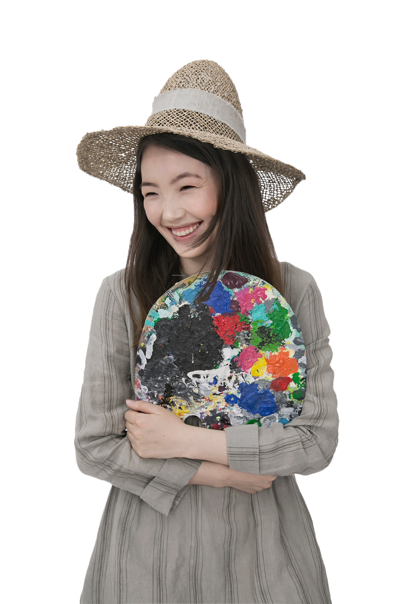 Beautiful Girl with Hat smiling with transparent background PNG