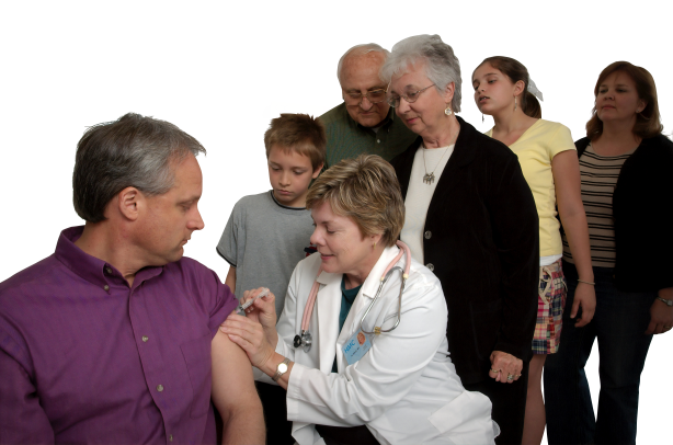 Doctor giving injection to peoples transparent background.png
