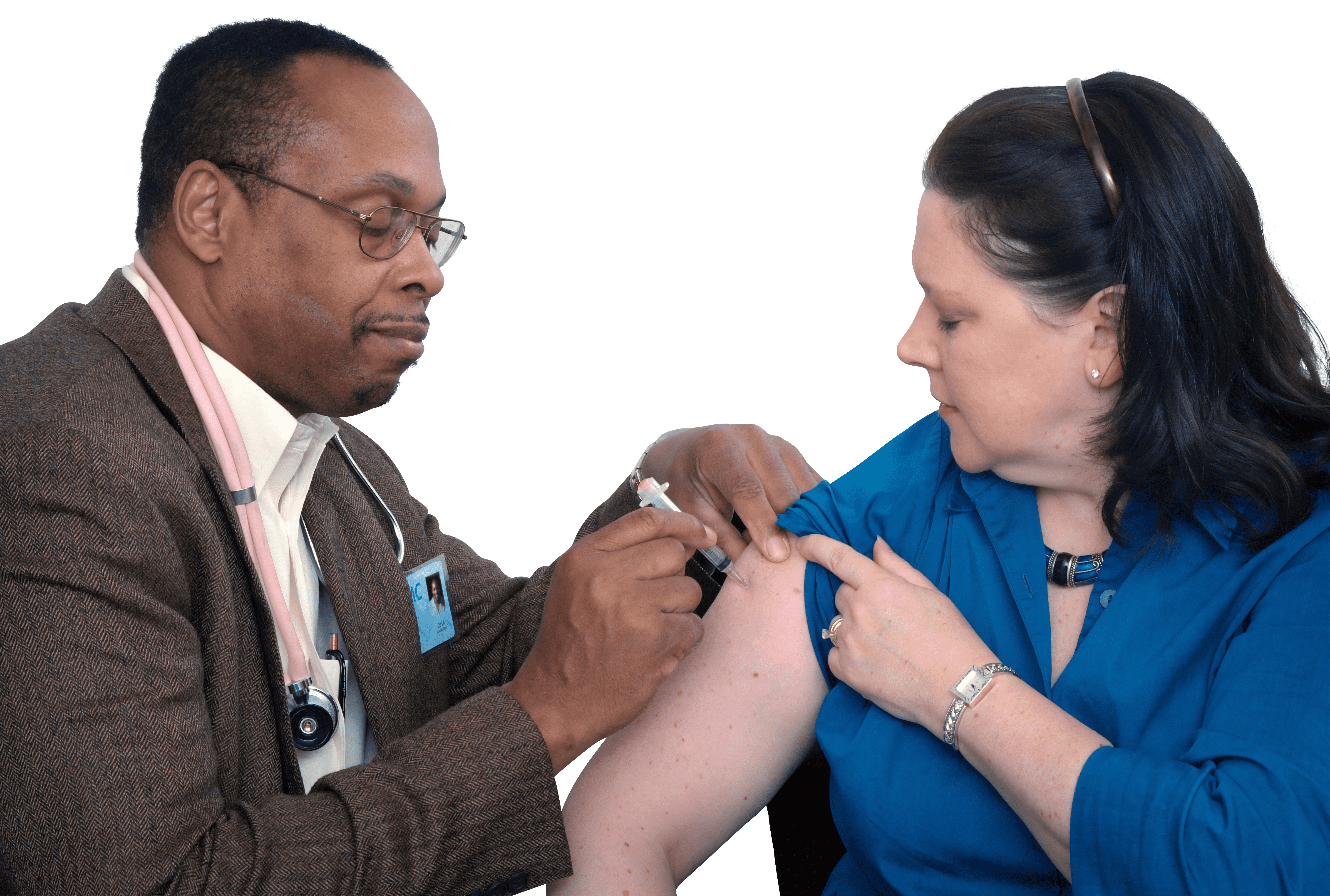 Doctor giving injection to a girl transparent background.png