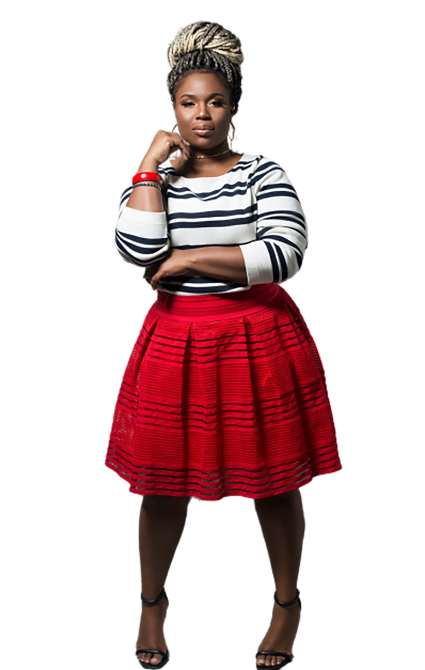 Black woman in white-red dress transparent background PNG