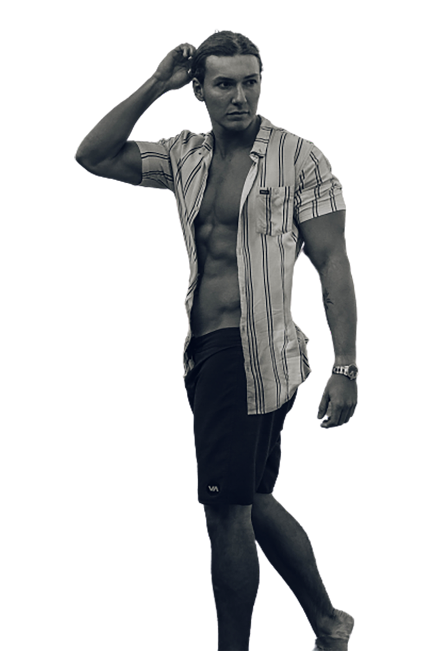 Man with open shirt, black and white transparent background PNG