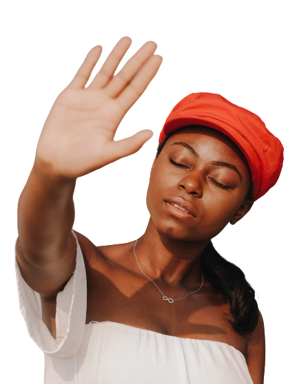 A black woman with an orange cap transparent background PNG