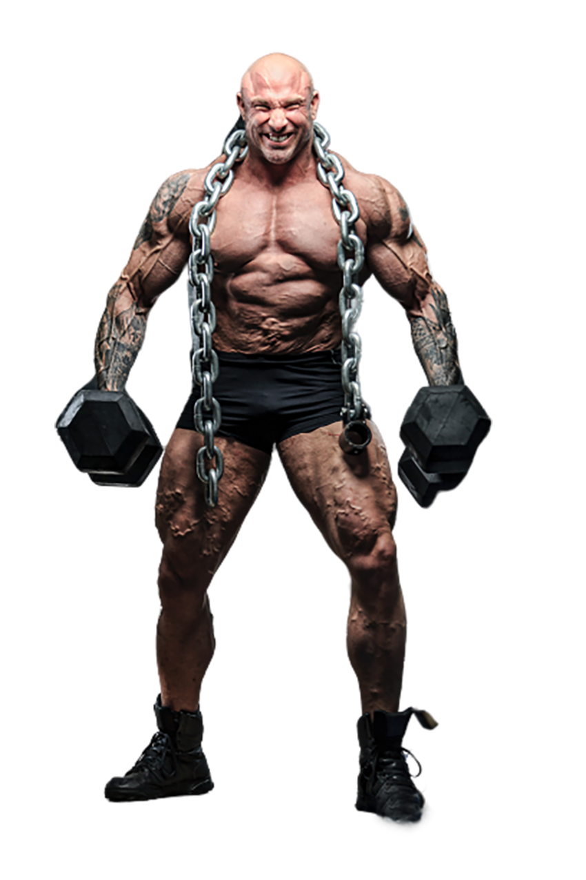 A bodybuilder with the dumbbells transparent background PNG