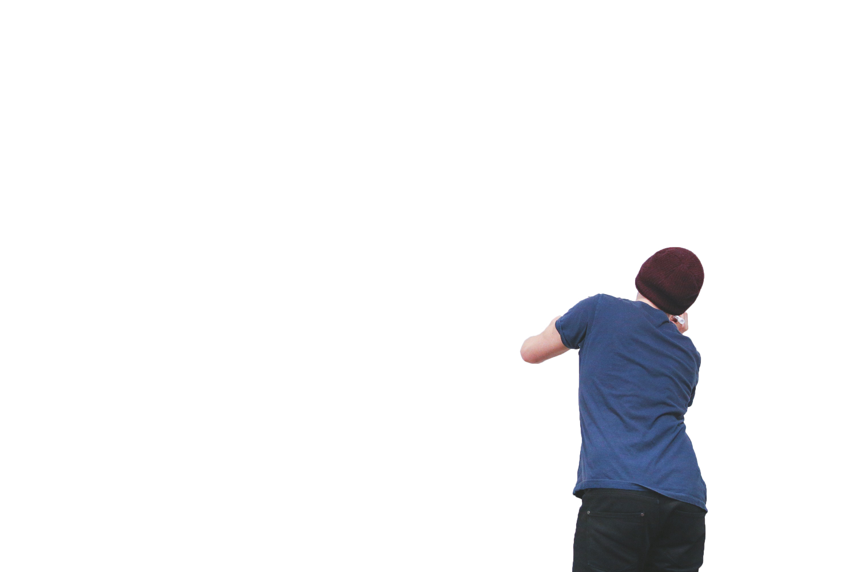 A guy writing by turning around with transparent background PNG