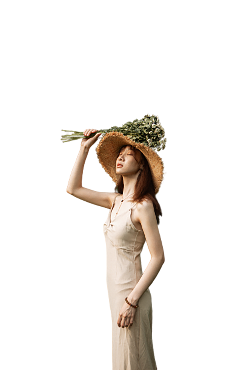 Girl with flowers in hand, closed eye transparent background PNG