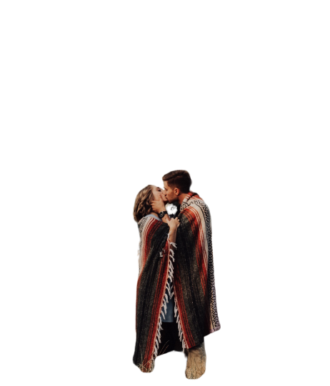 couple kissing in blanket  Transparent Background PNG