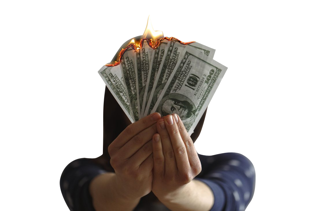 Hands Holding Money In Flame Transparent Background PNG