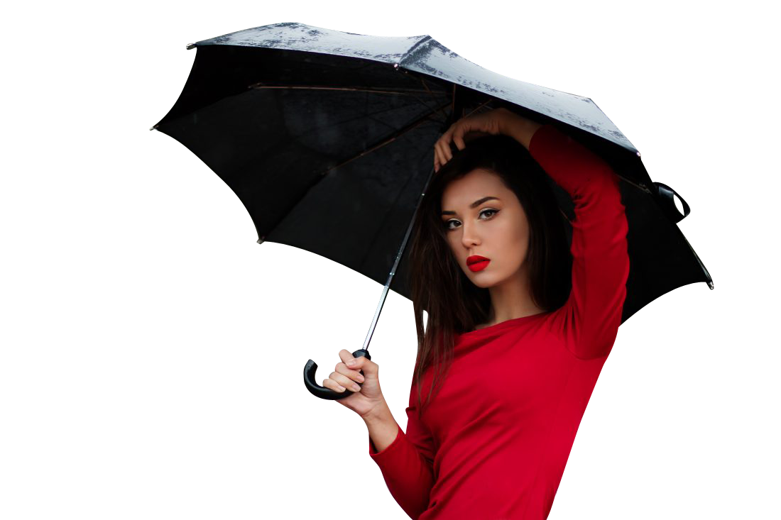 Woman with red dress under umbrella Transparent Background PNG