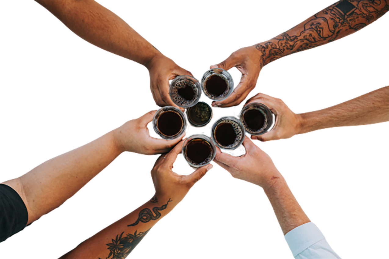 People cheering with tea transparent background PNG.