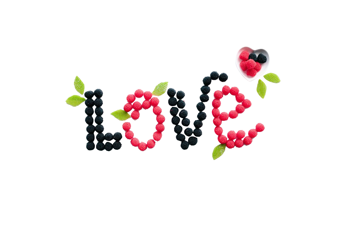 Berries Spelling Love Transparent Background PNG