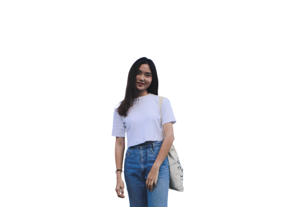 Indonesian girl with bag transparent background PNG