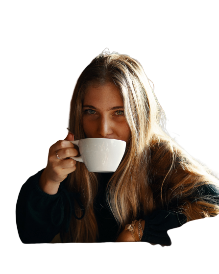 Girl with coffee  Transparent Background PNG