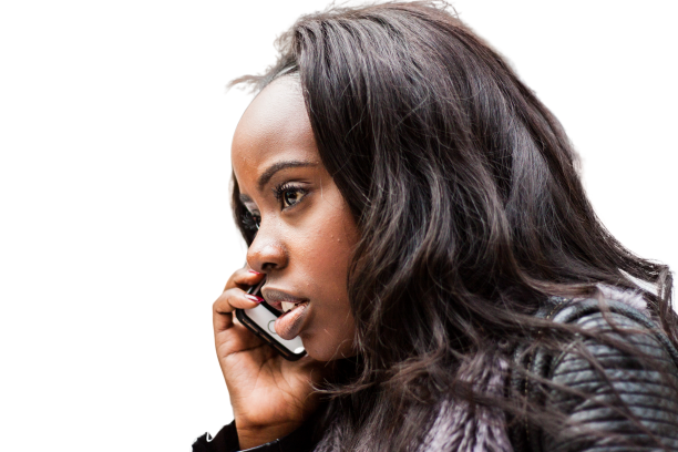 Black girl on call Transparent Background PNG