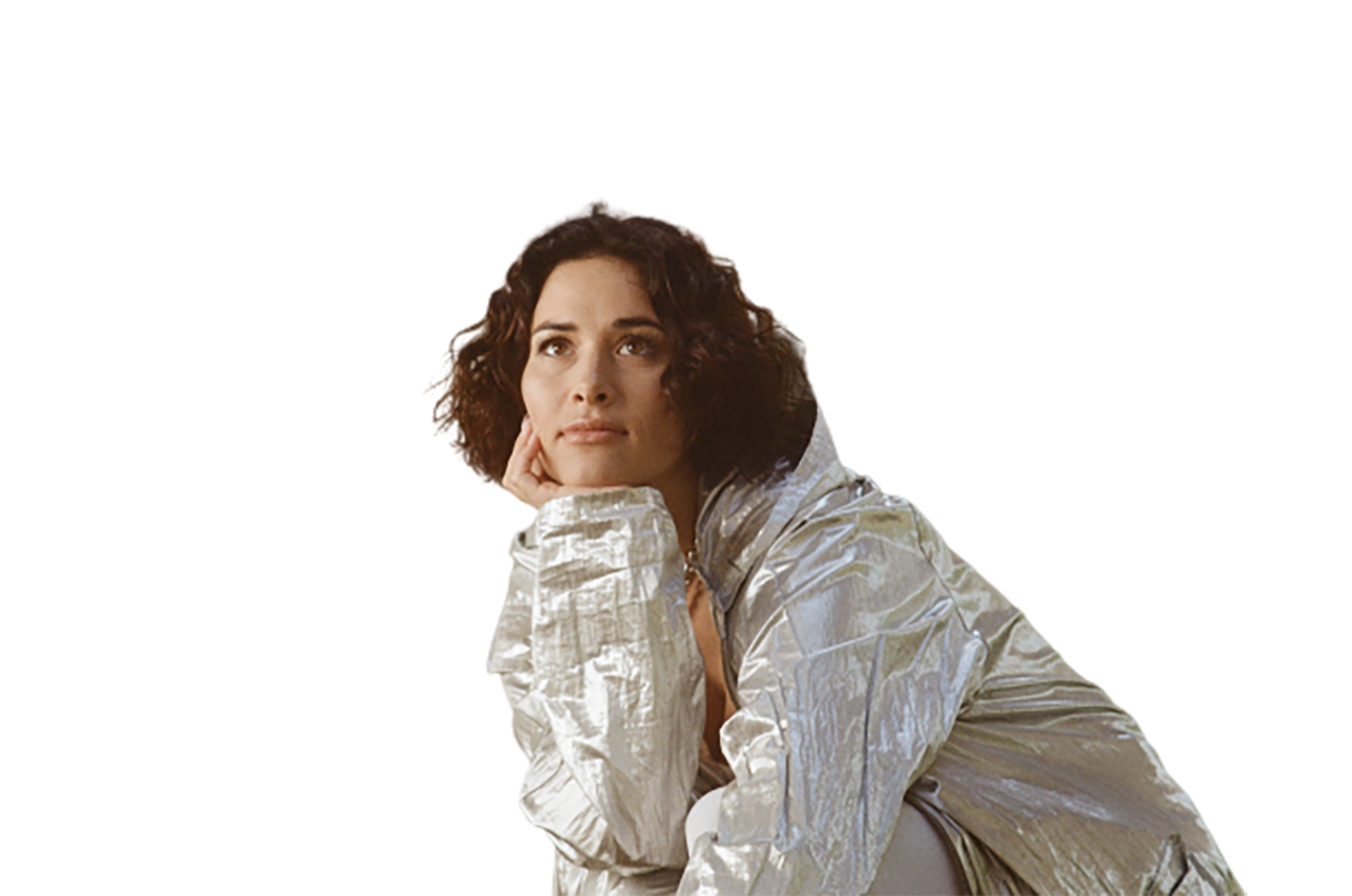 Girl in white dress, thinking  transparent background PNG