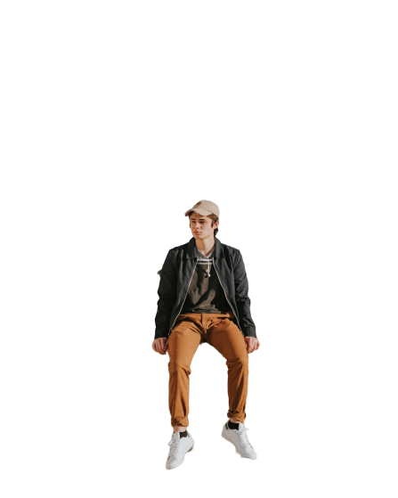 boy with handsfree transparent background PNG