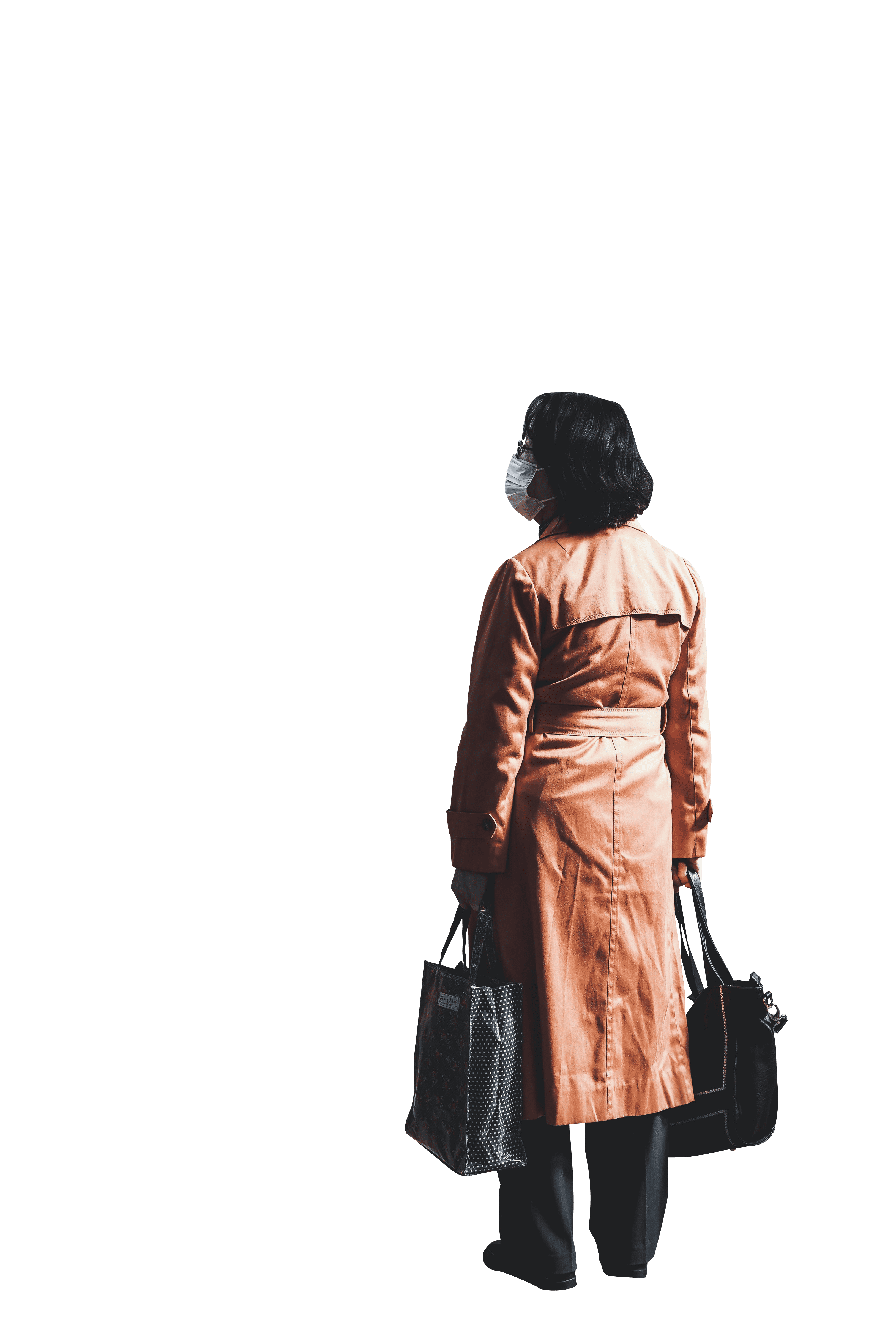 The back view of a woman standing on the road transparent background.png