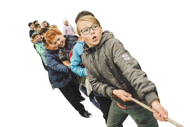 Child playing tug of war transparent background PNG