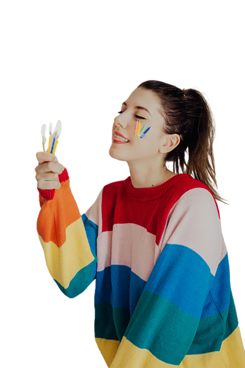 Girl wearing colorful winter dress transparent background PNG