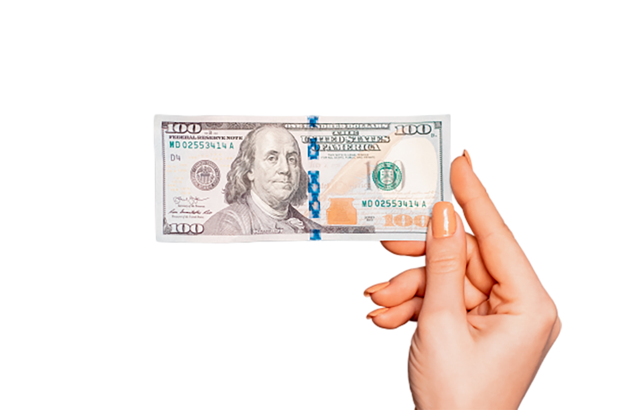 A Hundred dollar bill in hand transparent background PNG
