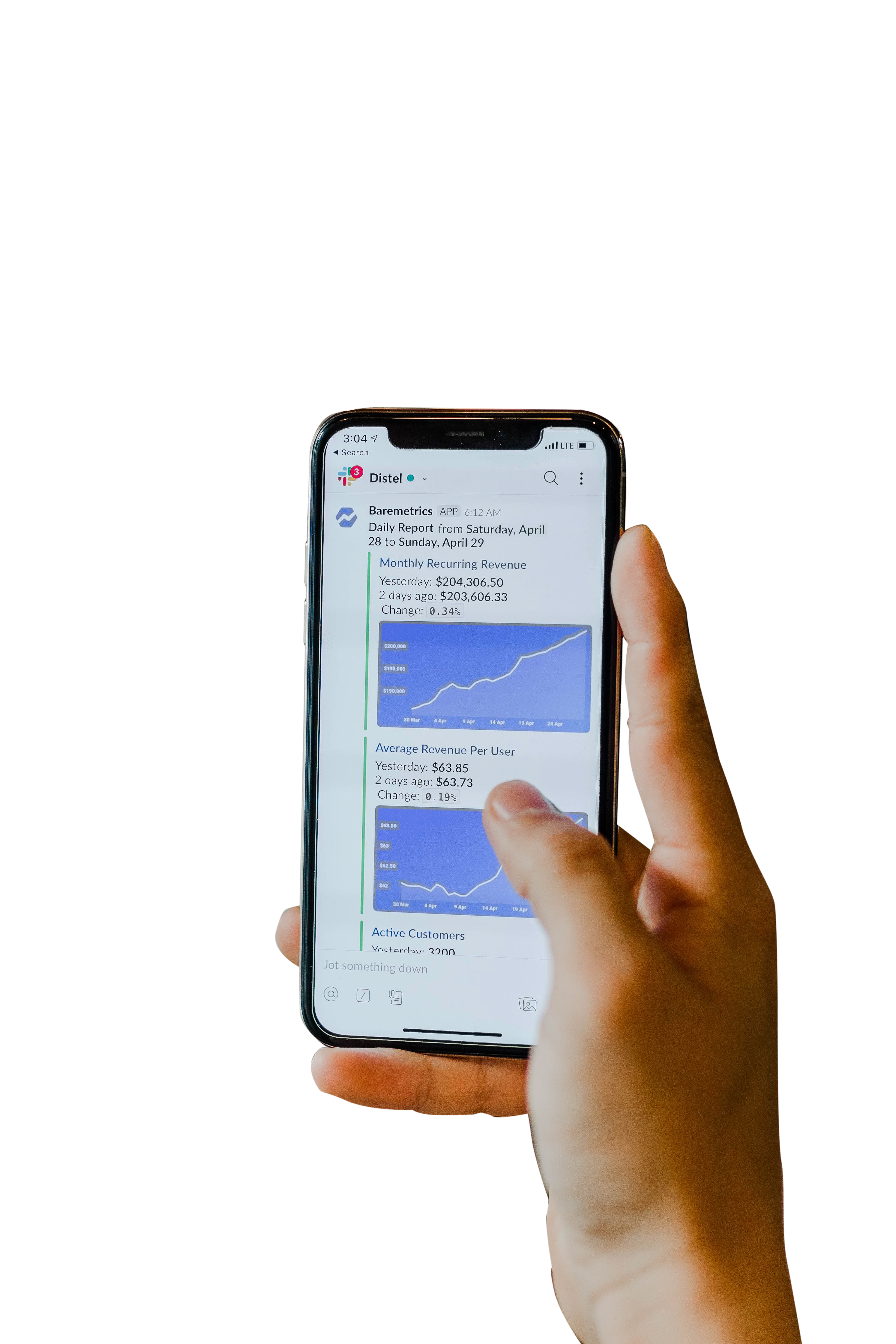 Mobile in Hand with Graphs on screen Transparent Background PNG