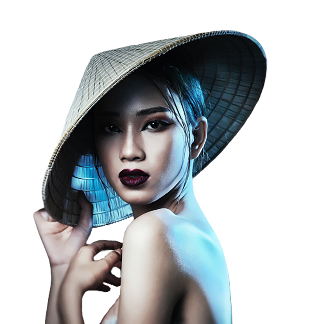 Girl with a bamboo hat transparent background PNG