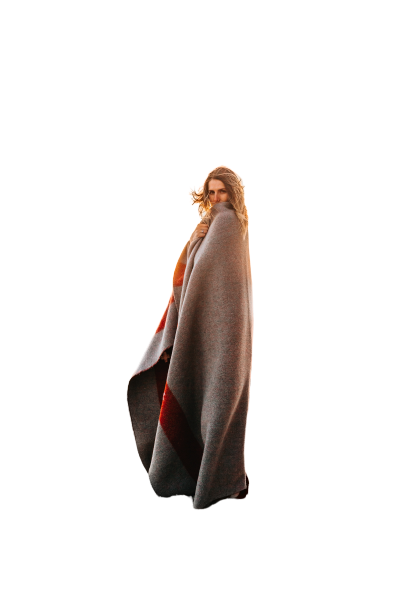 girl in long shawl transparent background PNG