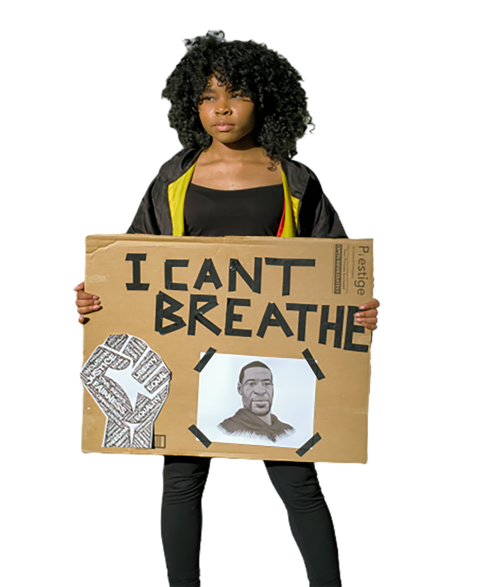Girl with a poster is doing a protest transparent background PNG