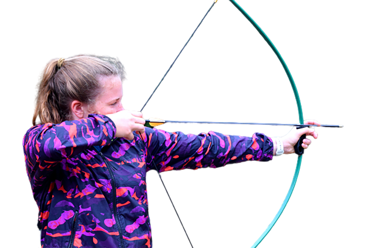 Girl doing Archery transparent background PNG