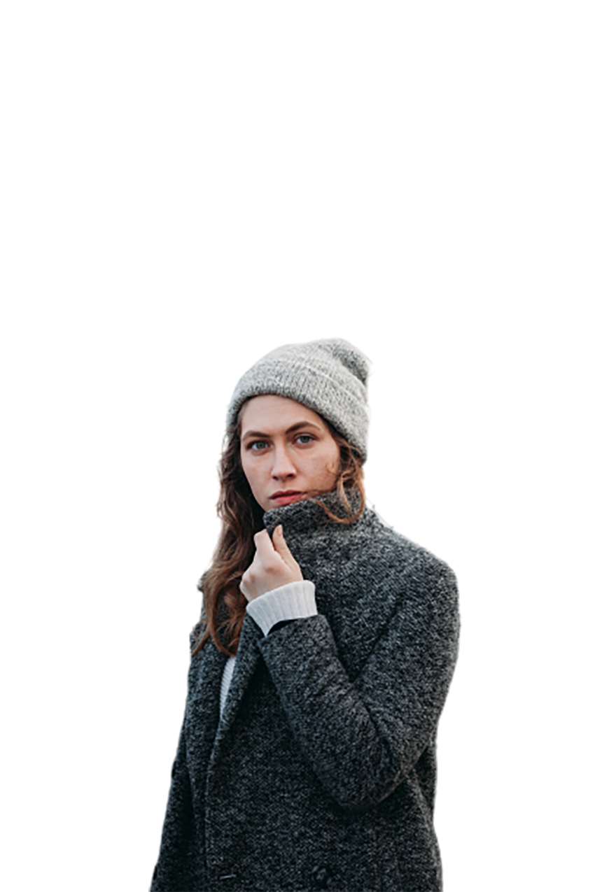 Woman in winter dress transparent background PNG