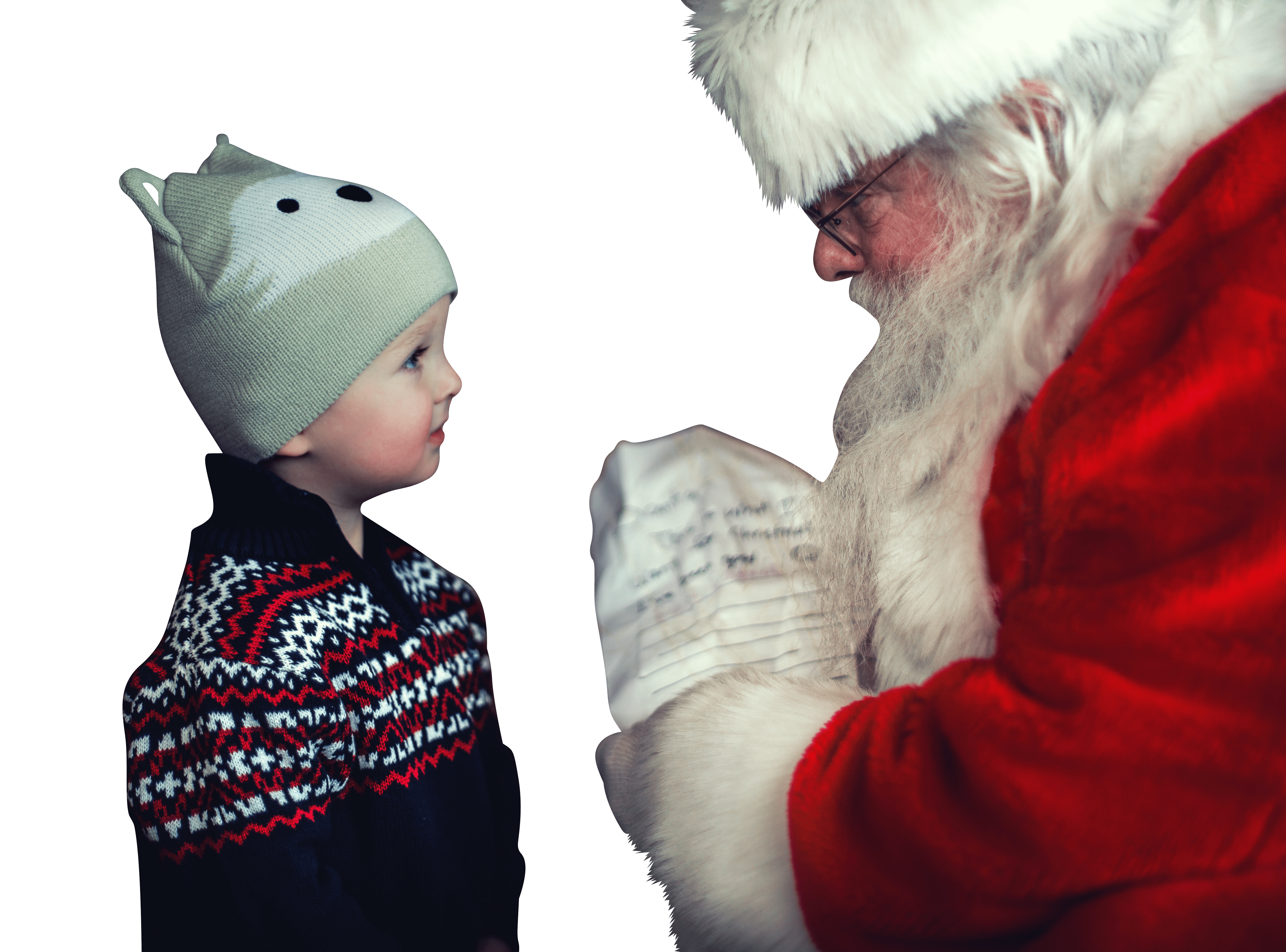 Santa claus give gift to baby transparent background.png