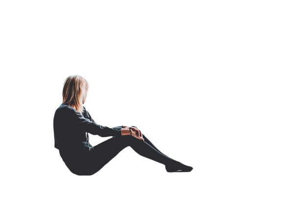 Girl sitting in gray dress  transparent background PNg