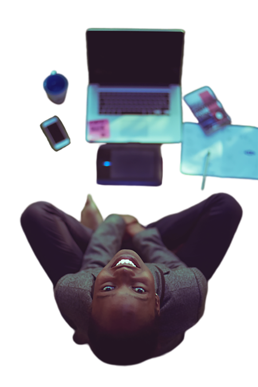 Woman with a laptop is looking up transparent background PNG