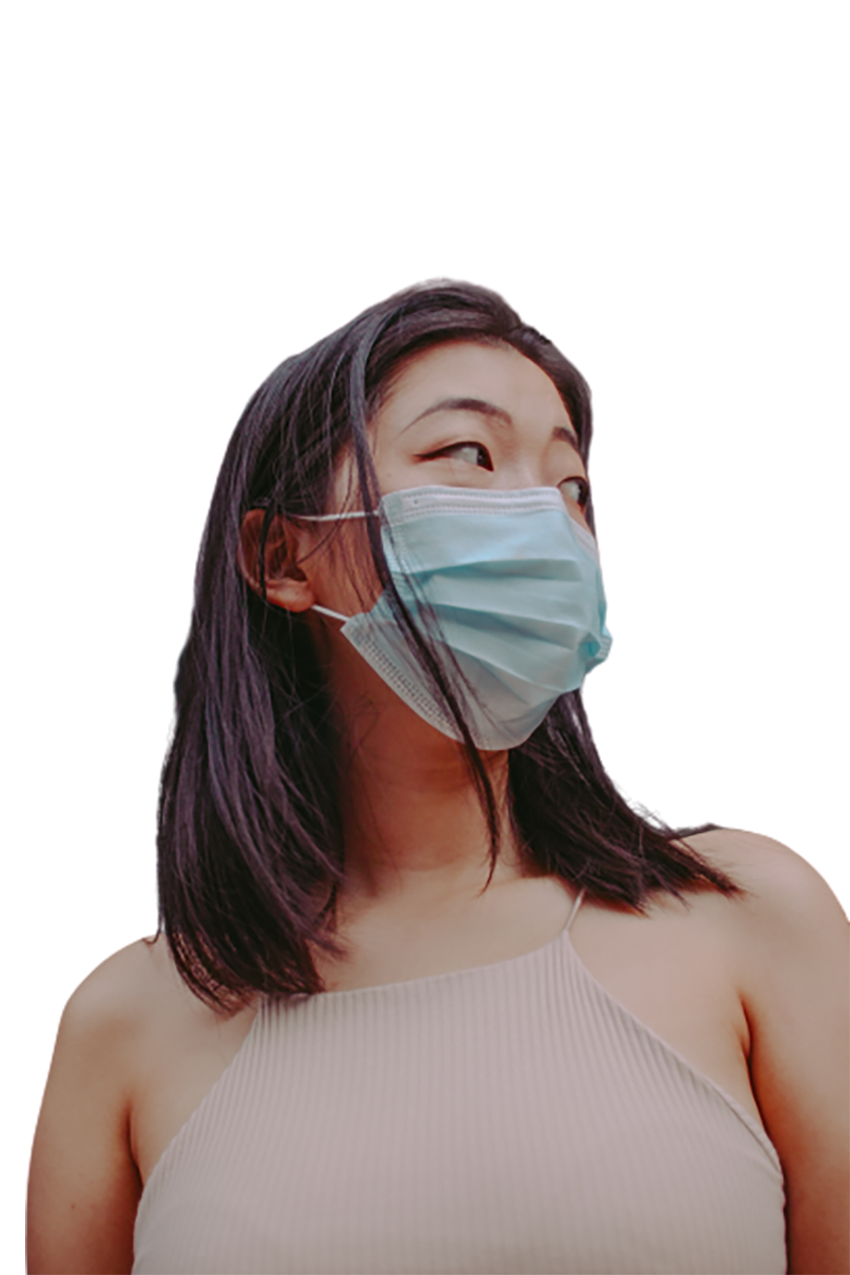 Girl wearing a surgical mask transparent background PNG