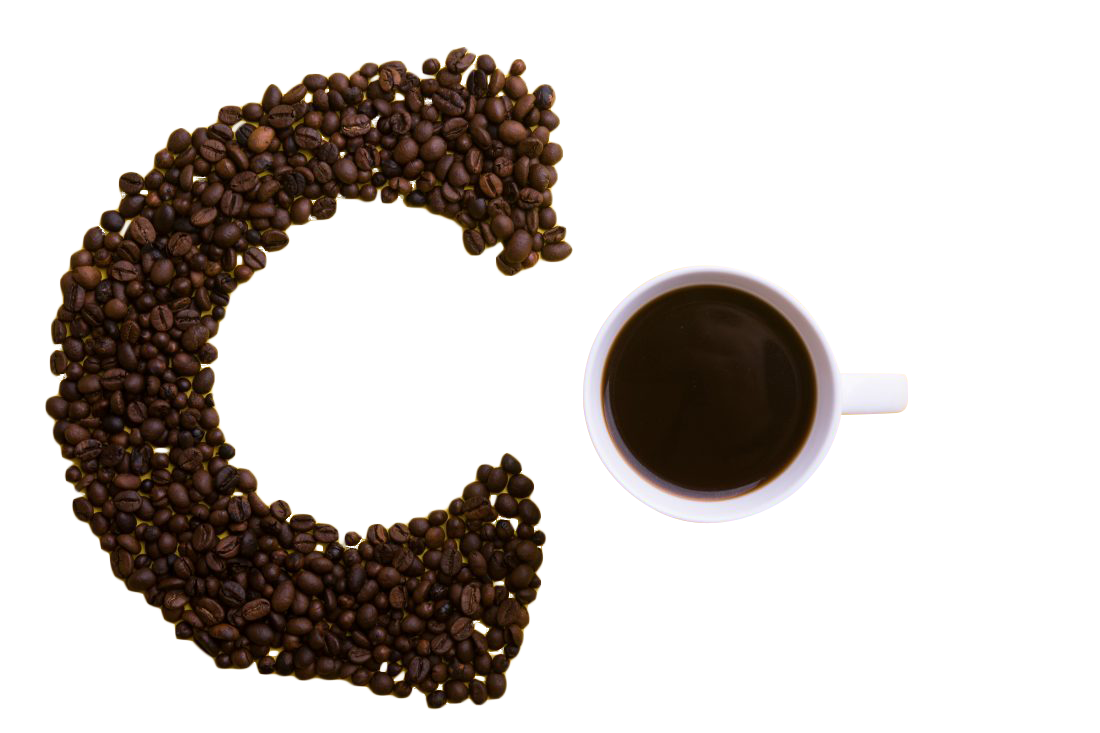 C Spelled With Coffee Transparent Background PNG